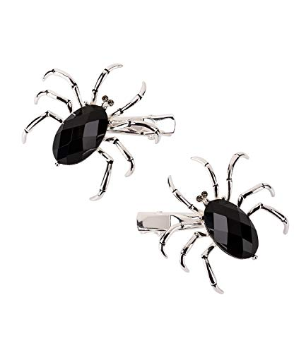 SIX Kleine Haarspangen mit silberfarbener Spinne mit schwarzem facettierten Stein und weissen Glitzersteinen als Augen, 2 St. (488-355)