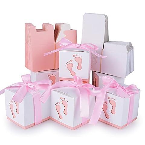 50 Pcs Boîte à Dragées Ballotin en Papier Cube avec