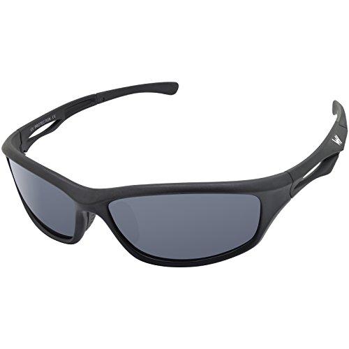 WHCREAT Herren Sport Polarisierte Sonnenbrille Sportbrillen Ultraleichter TR90 Rahmen UV 400 Schutz Linse für Radfahren, Skifahren, Snowboarden, Golf - Matt Schwarz Rahmen Schwarz Linse