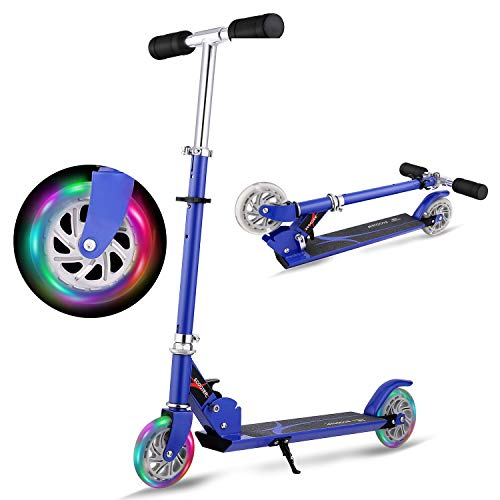 WeSkate Roller Kinder Verstellbar Kinderscooter Tretroller Cityroller mit 2 Leuchträder, Klappbar Tragbar Roller Scooter für Kinder Jüngere Mädchen ab 3-12 Jahre bis 80KG (Blau Klappbar)