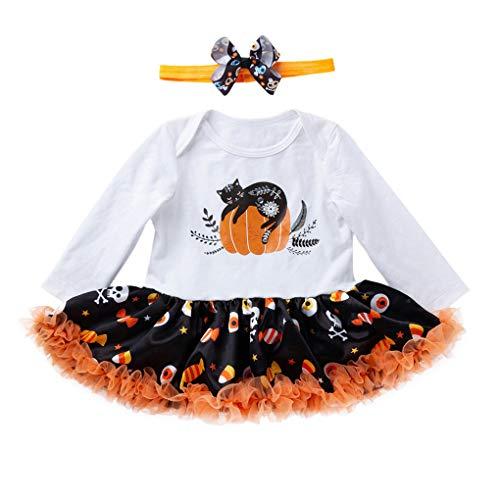 Batman Kleinkind Kostüm Mädchen - Riou Kinder Langarm Halloween Kostüm Top Set Baby Kleidung Set Kleinkind Kinder Baby Mädchen Kürbis Striped Print Langarm Halloween Kleid + Stirnbänder gesetzt Skelett (73, Weiß)