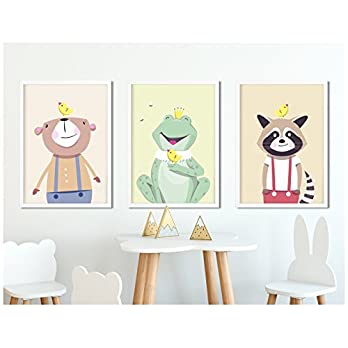 3er-Set Kinderzimmer Poster WALDTIERE (Variante 2) in DIN A4 – Kinderzimmerbilder von fabeltal, ungerahmt