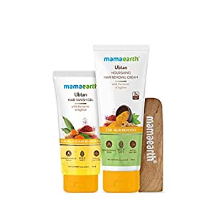 Mamaearth Ubtan Nourishing Hair Removal Cream Kit, for Sensitive Skin, Made Safe Certified with Turmeric & Saffron, with Hair Vanishing Gel & Wooden Spatula