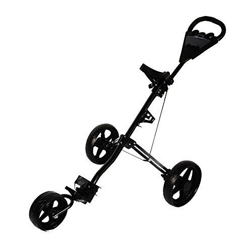 KinshopS Foldable 3 Wheel Golf Trolley Push&Pull Golf Cart With Foot Brake