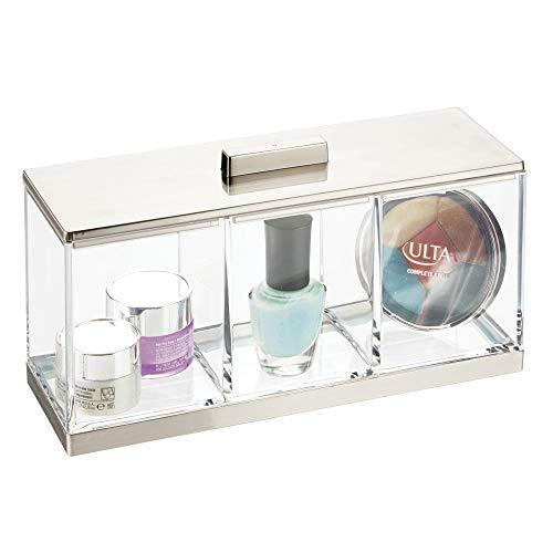 MetroDecor mDesign kleine Kosmetikbox mit Deckel – ideale Make-up Aufbewahrung mit 3 Fächern –...