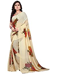 Jaanvi Fashion Women's Floral Chiffon Printed Saree (Floral-chiffon-orange_Beige)