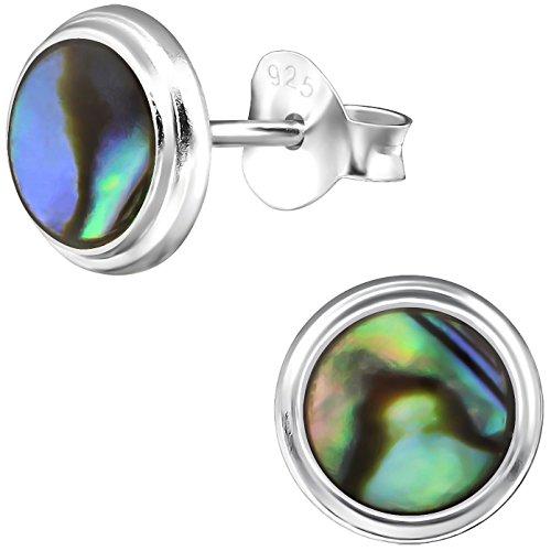 EYS JEWELRY runde Damen-Ohrstecker 925 Sterling Silber Abalone Paua Muschel natur 8 mm Damen-Ohrringe im Geschenketui