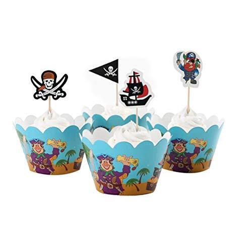 STOBOK 48PCS Piraten-Reihen-Kuchen-Verpackungen Toppers stellt für Geburtstags-Party-Baby-Duschen-Dekoration EIN (Piraten-baby-dusche Dekorationen)