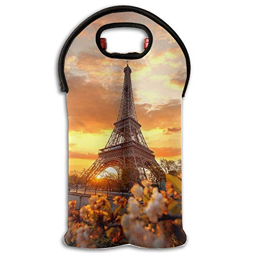 Torre Eiffel Wine/Water Bottle Tote Wine Carrier Tote Bag 2 Pack For Travel With Secure Carry Handle,Great Gift