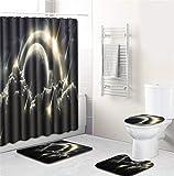 EMG Polyester Faser Badezimmer Vorhang Badezimmer Wolldecken Toiletten Sitz Kissen 16 Stück Satz Kreative Kunst Universum Planet Serie