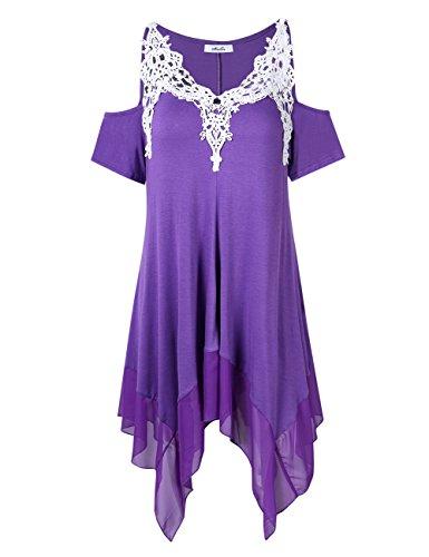 KOJOOIN Damen Plus Size Tops V-Ausschnitt Schulterfrei Tunika, Asymmetrischer Saum Kurzarmshirt Lange Casual Bluse Lila 3XL
