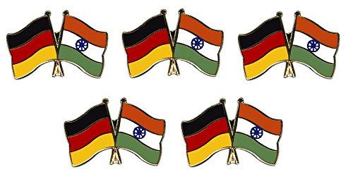 5er Pack Deutschland - Indien Freundschaftspin Yantec Pin Flagge