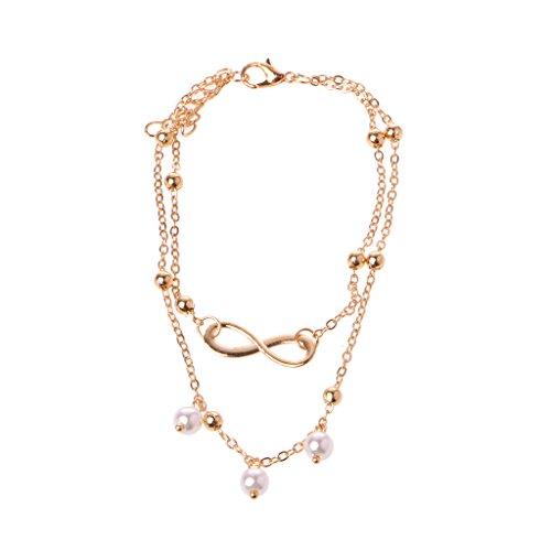 Yuanmaoao Frauen Unendlichkeit Liebe Doppelkette Fußkettchen Armband Strand Perle Barfuß Schmuck