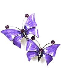 Awesome Brooches Store Purple Enamel And Amethyst Swarovski Crystal Double Butterfly  Brooch