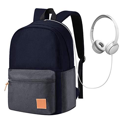 OMORC Mochila Escolar con Interfaz para Auriculares, Mochila Liviana para Laptop de 15.6', Bolsa de Viaje Impermeable para la Universidad/Negocios, Mujeres/Hombres - Azul