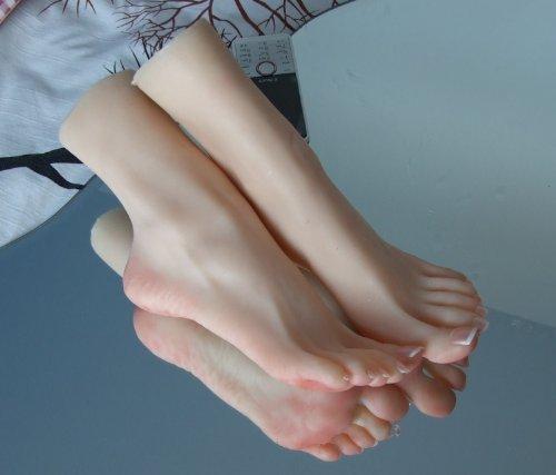 bayee 1Paar Silikon In Lebensgröße Mädchen Mannequin Fuß Display Kristallhalskette Strasssteinherzen Sandale Schuh Socke Display Art Sketch EU36