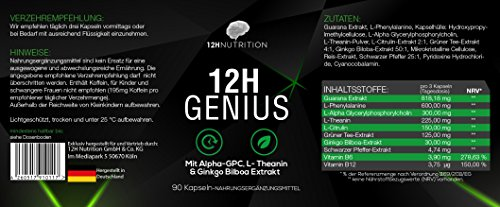 12H Genius – Premium Brain Booster – 90 Kapseln für Konzentration in Job & Studium – 100% Vegan mit Guarana & Alpha GPC