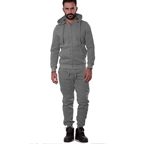 Toocool - Tuta uomo pantalone felpa cappuccio sport cerniera zip elastico nuova S6605 [M,GRIGIO CHIARO FELPATO]
