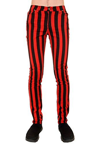 Run & Fly Mens Indie Vintage Retro 60s 70s MOD Black Red Striped Stretch Skinny Jeans