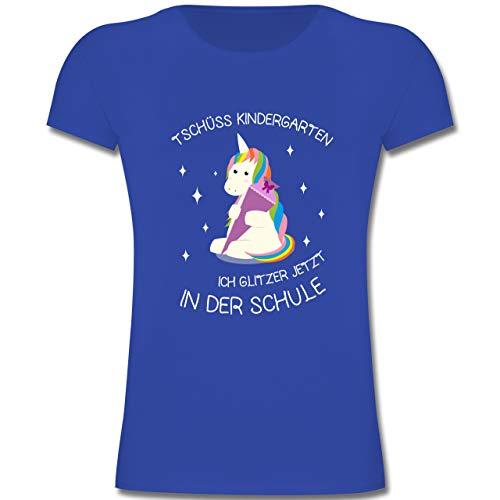 Einschulung und Schulanfang - Einschulung Einhorn Tschüss Kindergarten - 128 (7-8 Jahre) - Royalblau - F131K - Mädchen Kinder T-Shirt