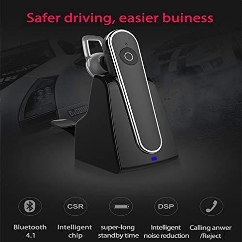 Innovationen-bluetooth-headset (YOUXIU Kabelloses Business-Headset, Bluetooth V4.1TWS CVC6.0 intelligente Rauschunterdrückung eingebautes Mikrofon intelligente Beantwortung mit Autoladegerät für iPhone Huawei Samsung,White)