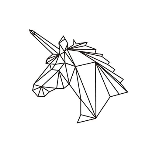 Wand-Aufkleber Geometrische 1pc Aufkleber Einhorn-Aufkleber-Wand-Abziehbilder Removable Lebensstil Dekoration Schlafzimmer-Raum-Kunst-Pferde 10,5 x 17,8 Zoll (Schwarz) (Wand-dekor Inspirierende)