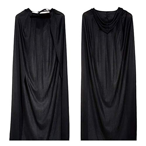 Familie 3 Kostüm Personen Für - Beaurce Full Length Hooded Robes Umhang Unisex Halloween Party Rollenspiel Kostüm Adult Cotton Hooded Simple Cloak Black