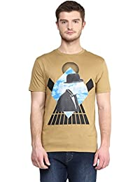 Wear Your Mind Brown Cotton Round-Neck Printed T-shirt For Men TSS186.2