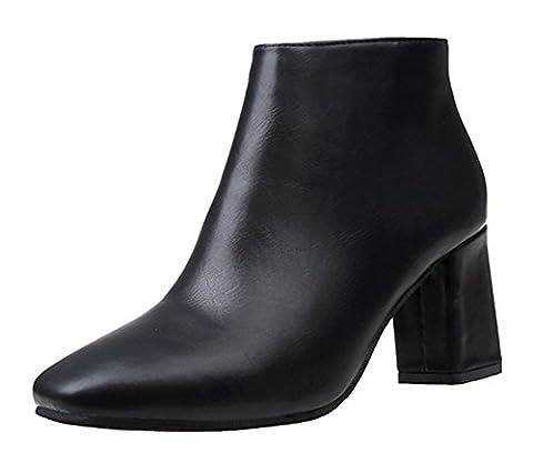 Aisun Femme Fashion Cheville Low Boots Chunky Bout Carré Bottines Noir 35
