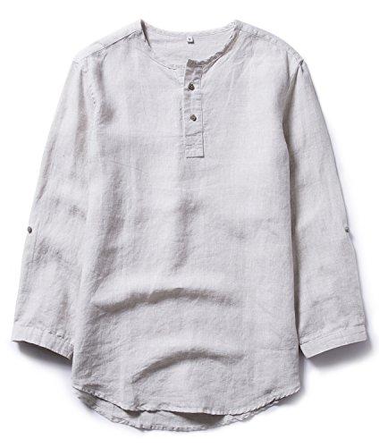 Insun uomo camicia in lino senza colletto henley maglietta casual estiva t-shirt beige it 44