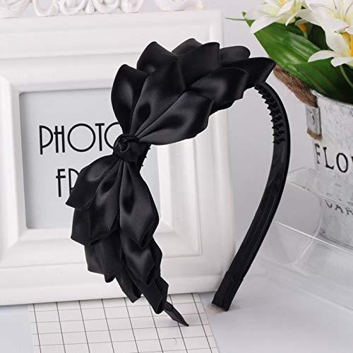 Preisvergleich Produktbild JWTS Haarreife Südkoreas großer Bowknot-Stoff-Haarnadel süße Dame breitflächiger Reifen einfache 100-Set-Haarnadelpresse weibliche Erwachsene,  Schwarz mit Zahnriemen und Phoenix-Schwanz