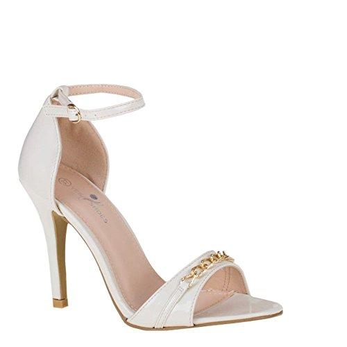 Damen Riemchen Abend Sandaletten High Heels Pumps Slingbacks Lack Peep Toes Party Schuhe Bequem 182 Beige GM-41