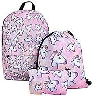 3Pcs/set women backpack lovely unicorn school bags for girls 3D printing student bag set mm