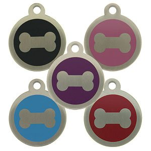 Personalised Engraved 32mm Stainless Steel Pet ID Tag Dog Bone Design