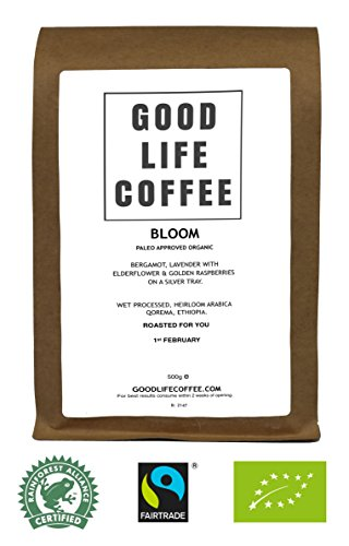 GOOD LIFE – BLOOM Paleo Approved, 100% Organic Coffee, Bulletproof Optimised, Premium Roasted Coffee from Qorema, Ethiopia, Roasted to Order, Award Winning Single Origin Arabica Coffee Beans, Low Acidity Coffee – Impossibly Delicious Taste 41xTIws 2BhlL