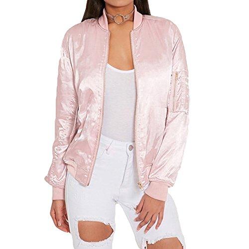 Beiläufiger Slim Jacken Kurze Parka für Damen - hibote Elegant Satin Bomberjacke kurze Motorrad Jacke Mantel Cardigan Tops Outwear rosa,...