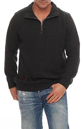 Benter Herren Pullover Sweatshirt Feinstrick Baumwollpullover mit Stehkragen Logo Patches Regular Fit 16883 Grau