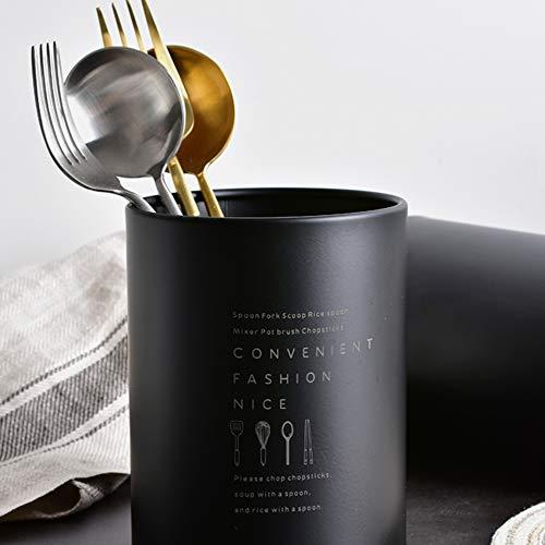 Porte-ustensiles de cuisine en acier inoxydable 13 x 10 cm Noir