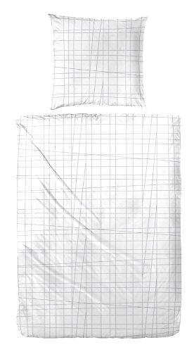 Primera Perkal Bettwäsche 133025 100{7451b8b046721c9cd4bccac869f1145fddbe8a3cff81d360fee0d039b4393198} Baumwolle in Weiß Grau 135x200 + 80x80 cm