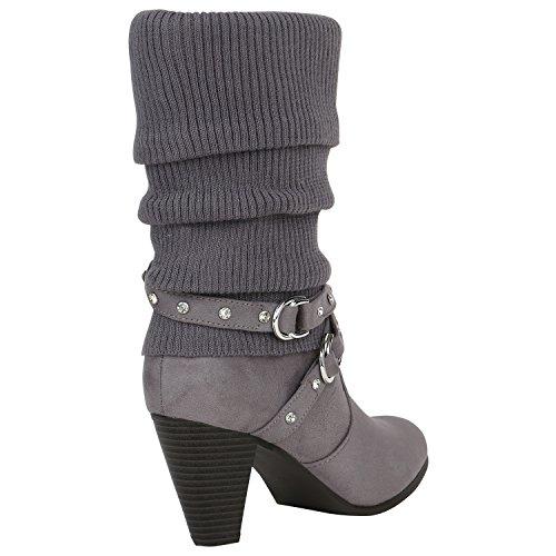 Stiefelparadies Damen Gefütterte Stiefel Schnallen Nieten Stulpen Stiefeletten High Heels Leder-Optik Schuhe Trichterabsatz Boots Flandell Grau Strass
