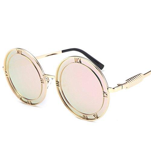 Sunyan Koreanische weiblichen Persönlichkeiten Sonnenbrille rundes Gesicht Lady elegante Gläser 9125 Gläser, Gold frame Pulver film