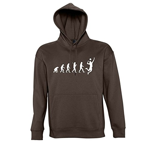 EVOLUTION - Volleyball Sport - Kapuzen Sweatshirt - Pullover S-XXL , Chocolate - weiß , L