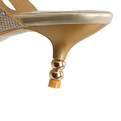 AIYOUMEI Damen Offen Stiletto High Heel Pantoletten mit Strass Bequem Modern Pailletten Sandalen Schuhe Gold