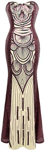 Angel-fashions Damen Paillette Trägerlos Schatz Mesh Gatsby Bankett Hochzeitskleid (M, Weinrot)