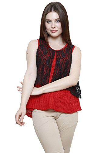 Renka Red Round Neck Solid Lace Crop Tops For Women