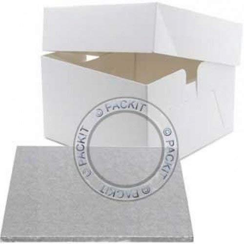 PackitUK Scatola Quadrata per Torte Misura 305 con sottotorta Quadrato Misura 304