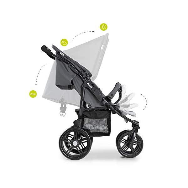 Hauck Roadster Duo SLX Double Pushchair, Grey/Silver, 14 kg Hauck Twin and sibling stroller suitable for two children or new-borns by combining it with the separately available hauck 2 in 1 carrycot, this pushchair holds 2 x 15 kg Fits through doors despite the children sitting side by side, roadster duo slx fits through doors and elevators as it measures 76 cm only Comfy both backrest and footrest come with sun hood, as well as large shopping baskets and are individually adjustable up to lying position; the pushchair is easy to fold away with one hand 7