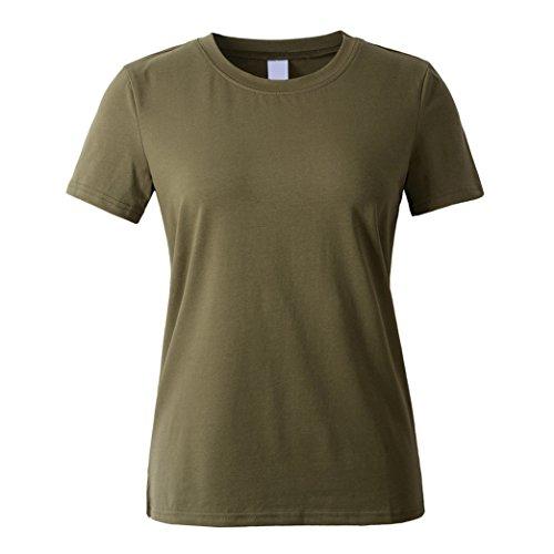 Yeese Sommer Damen Beiläufig Rundhals Kurzarm Tee Tops Solide Blank Loose T-shirts Armeegrün