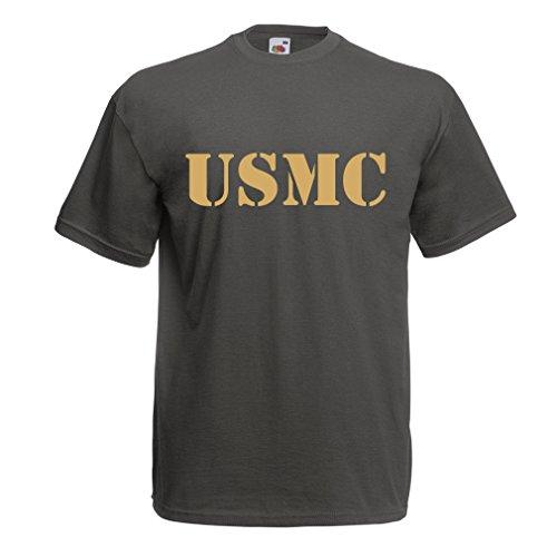Männer T-Shirt USMC Emblem, Marine Corps, Marines Logo, US Navy Armed Forces (XXX-Large Graphit Gold)