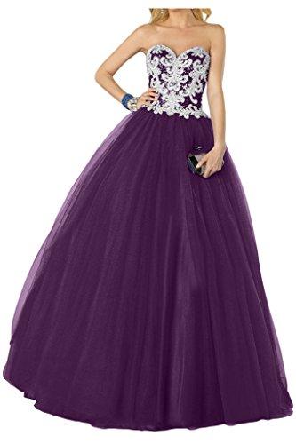 Promgirl House Damen Prinzessin A-Linie Pailletten Abendkleider Ballkleider Tanzenkleider Hochzeitskleider Lang Lila